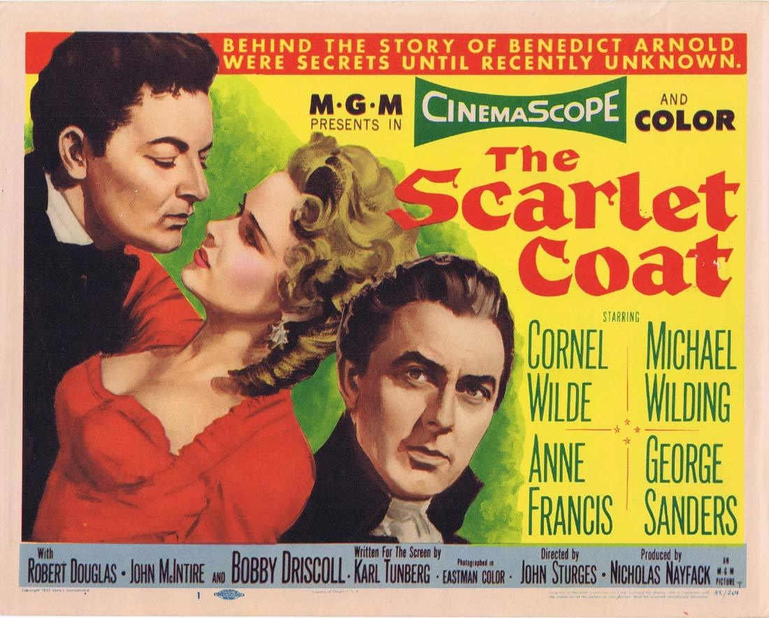 THE SCARLET COAT Original Title Lobby Card Cornel Wilde Michael Wilding George Sanders