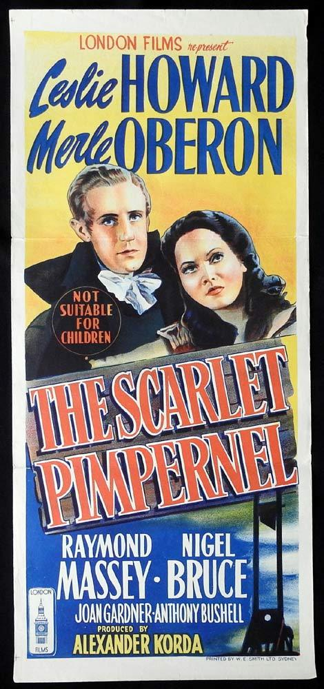 THE SCARLET PIMPERNEL Original 1950sr Daybill Movie Poster Leslie Howard