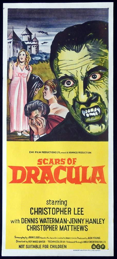 SCARS OF DRACULA Original Daybill Movie Poster Christopher Lee HAMMER HORROR