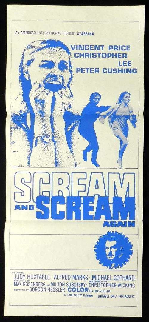 SCREAM AND SCREAM AGAIN Original Daybill Movie Poster Vincent Price Christopher Lee