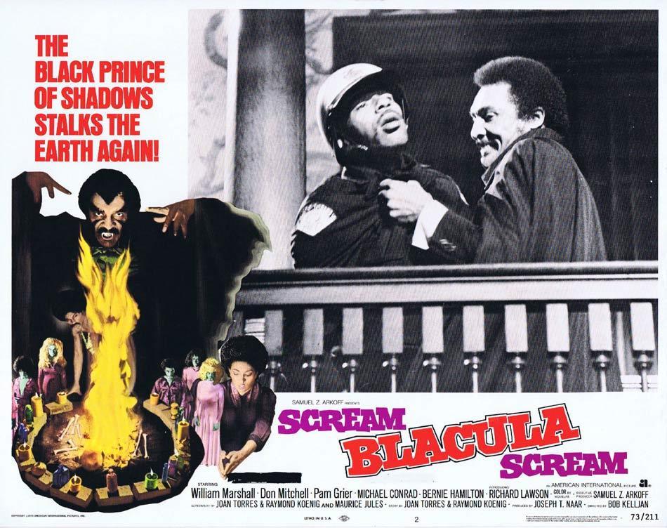 SCREAM BLACULA SCREAM Original Lobby Card 2 Blaxploitation Horror Pam Grier