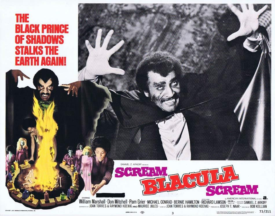 SCREAM BLACULA SCREAM Original Lobby Card 3 Blaxploitation Horror Pam Grier