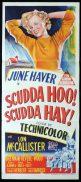 SCUDDA HOO SCUDDA HAY Original Daybill Movie Poster MARILYN MONROE June Haver