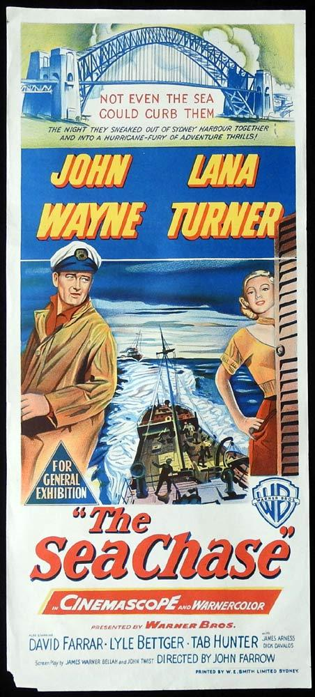 THE SEA CHASE Daybill Movie poster JOHN WAYNE John Ford