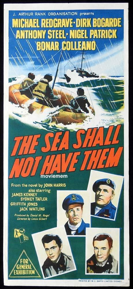 THE SEA SHALL NOT HAVE THEM Original Daybill Movie Poster Michael Redgrave Dirk Bogarde