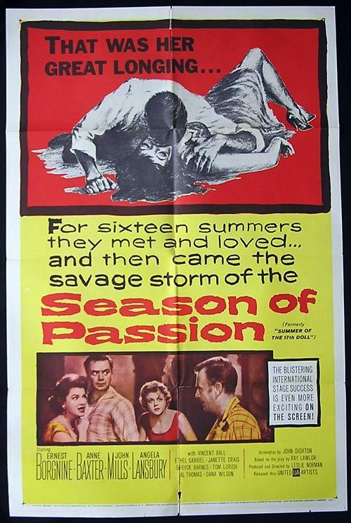 SUMMER OF THE SEVENTEENTH DOLL aka SEASON OF PASSION '59 Rare 1 sheet Movie poster