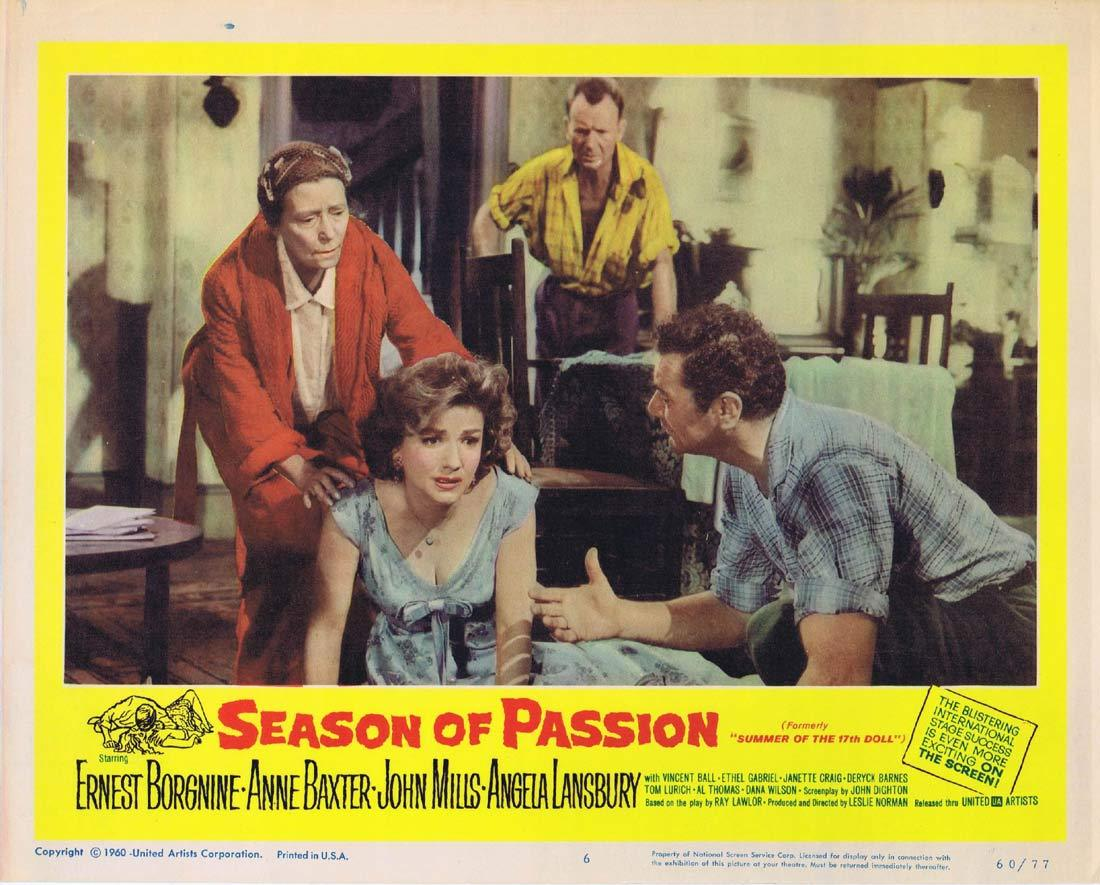 SEASON OF PASSION Original Lobby Card 6 Ernest Borgnine Anne Baxter Angela Lansbury