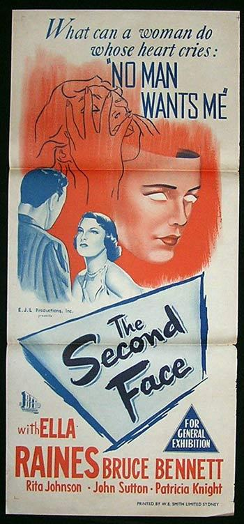 THE SECOND FACE Daybill Movie Poster 1950 Ella Raines