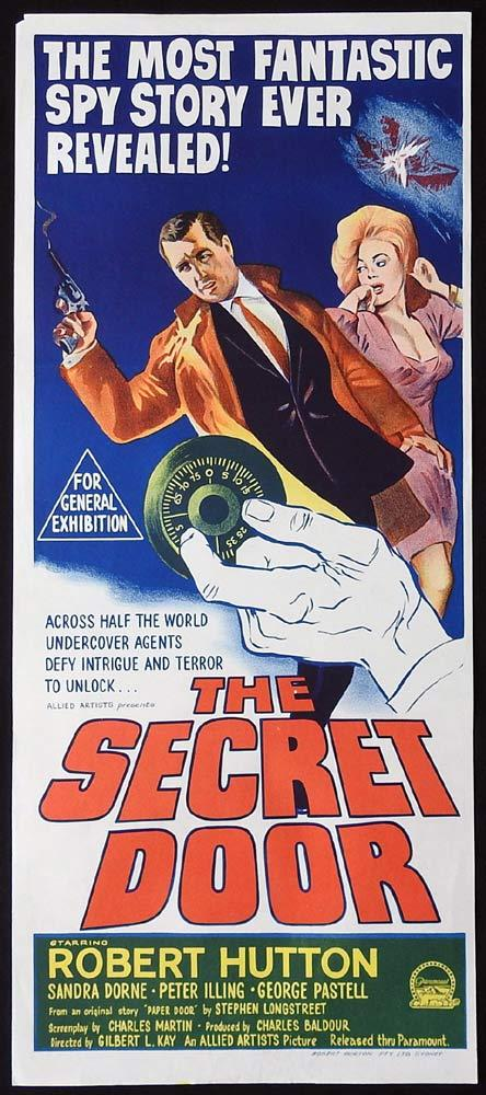 THE SECRET DOOR Original Daybill Movie Poster Robert Hutton Safe Cracker