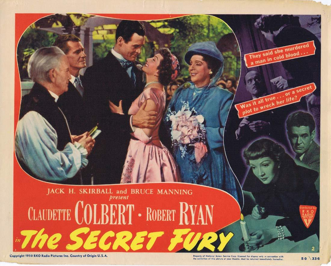 THE SECRET FURY Lobby Card 2 Claudette Colbert Robert Ryan