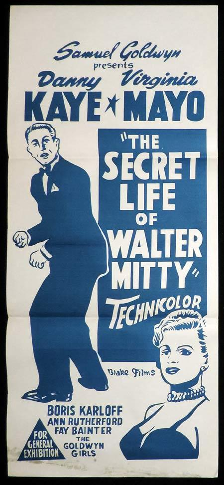 THE SECRET LIFE OF WALTER MITTY Original Daybill Movie Poster Danny Kaye