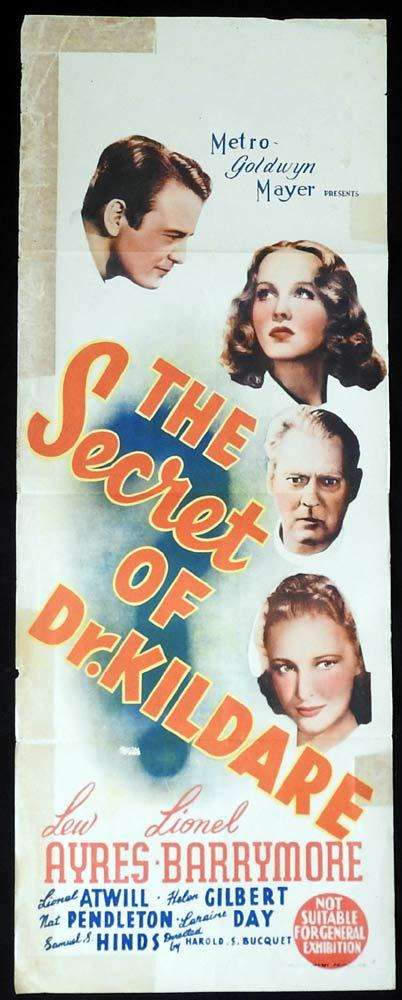 The SECRET OF DR KILDARE Long Daybill Movie poster Lew Ayres Lionel Barrymore