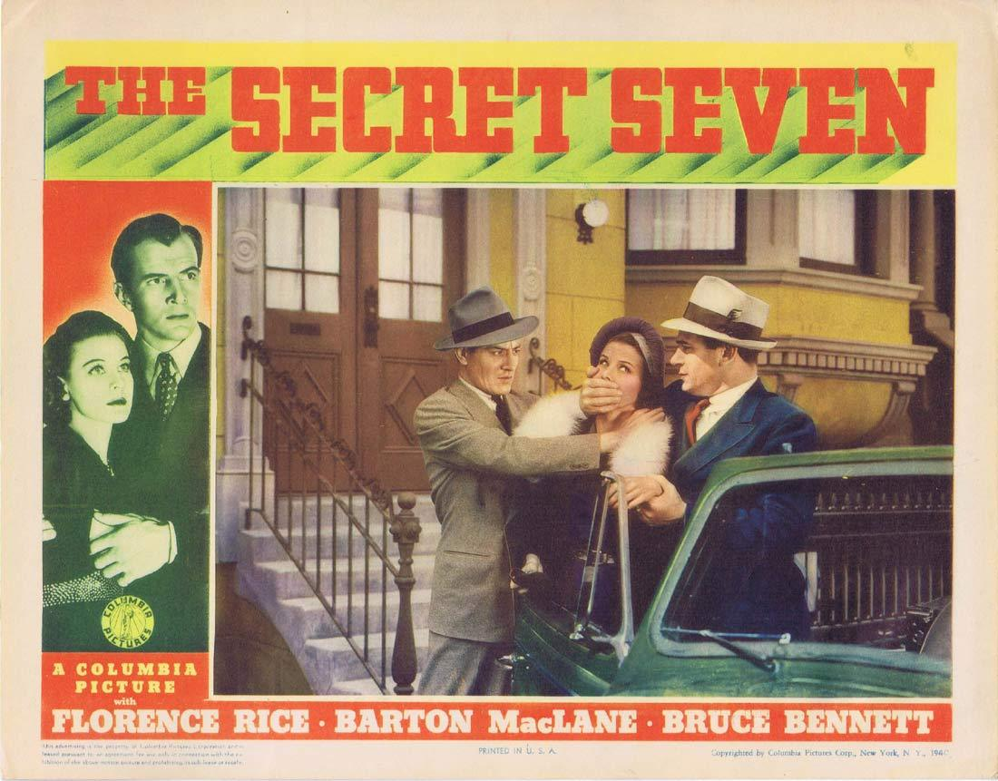THE SECRET SEVEN Original Lobby Card 2 Bruce Bennett Florence Rice Barton MacLane 1940