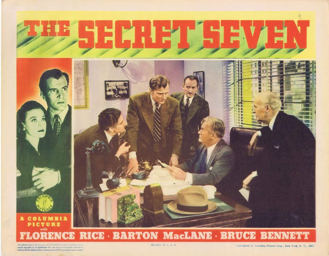 THE SECRET SEVEN Original Lobby Card 4 Bruce Bennett Florence Rice Barton MacLane 1940
