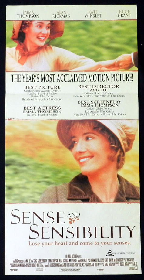 SENSE AND SENSIBILITY Emma Thompson VINTAGE Daybill Movie poster