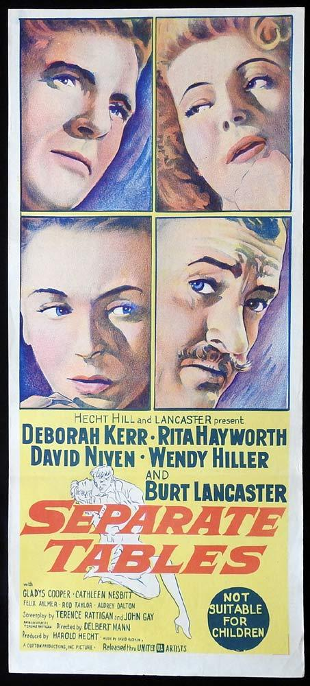 SEPARATE TABLES Original Daybill Movie Poster Deborah Kerr David Niven Rita Hayworth