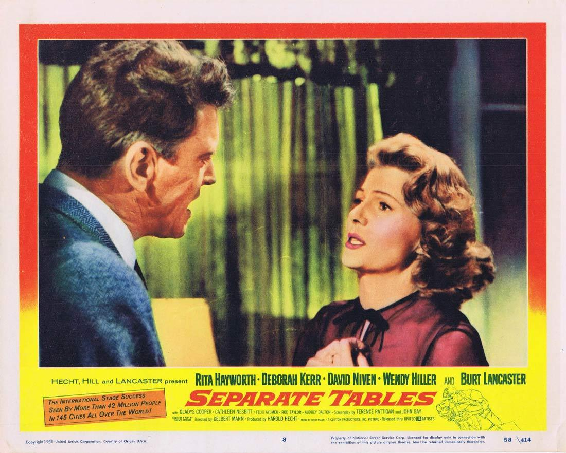 SEPARATE TABLES Lobby Card 8 Deborah Kerr David Niven Burt Lancaster