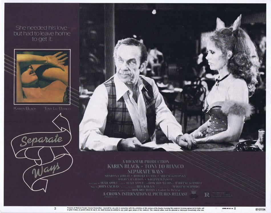 SEPARATE WAYS Lobby Card 2 Karen Black Tony Lo Bianco Arlene Golonka