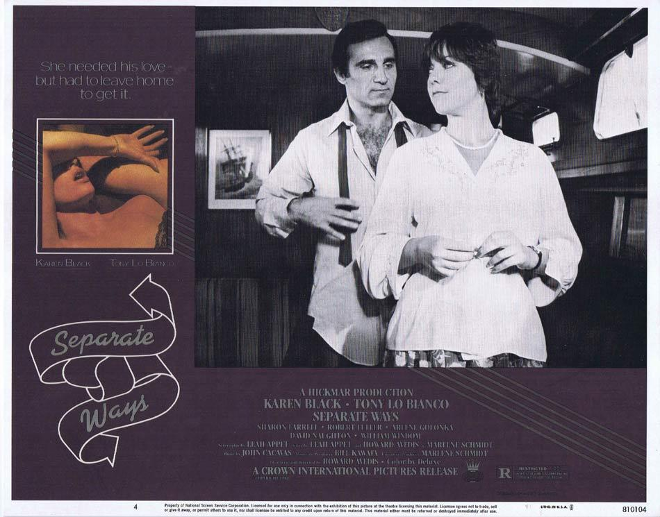 SEPARATE WAYS Lobby Card 4 Karen Black Tony Lo Bianco Arlene Golonka