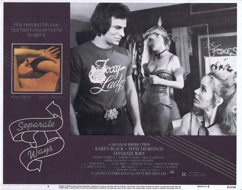 SEPARATE WAYS Lobby Card 6 Karen Black Tony Lo Bianco Arlene Golonka