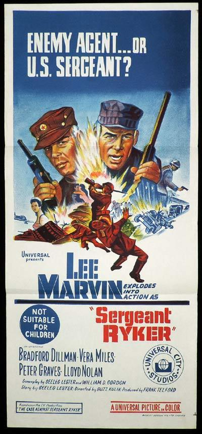 SERGEANT RYKER Original Daybill Movie Poster Lee Marvin