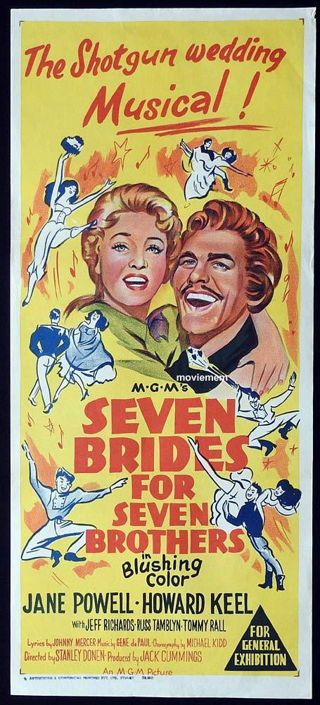 SEVEN BRIDES FOR SEVEN BROTHERS Original 62r Daybill Movie poster Howard Keel Jane Powell