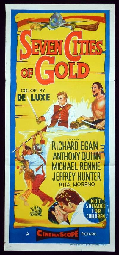 SEVEN CITIES OF GOLD Original Daybill Movie Poster Jeffrey Hunter
