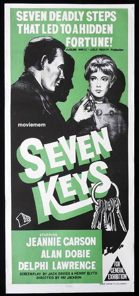 SEVEN KEYS Original Daybill Movie Poster Alan Dobie Jeannie Carson