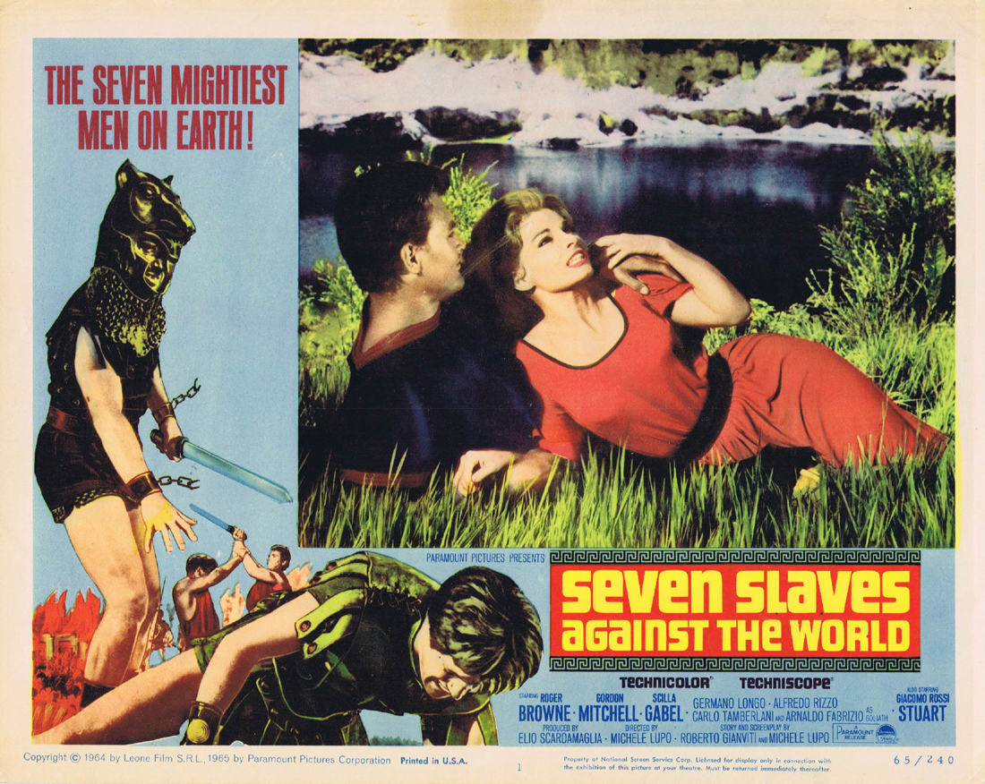 SEVEN SLAVES AGAINST THE WORLD Original Lobby Card 1 Roger Browne Gordon Mitchell