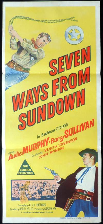 SEVEN WAYS FROM SUNDOWN Original Daybill Movie Poster Audie Murphy Western