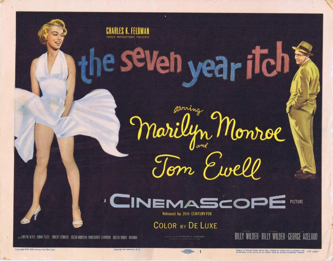 THE SEVEN YEAR ITCH Title Lobby Card Marilyn Monroe