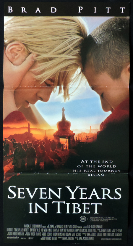 SEVEN YEARS IN TIBET ORIGINAL Daybill Movie poster Brad Pitt