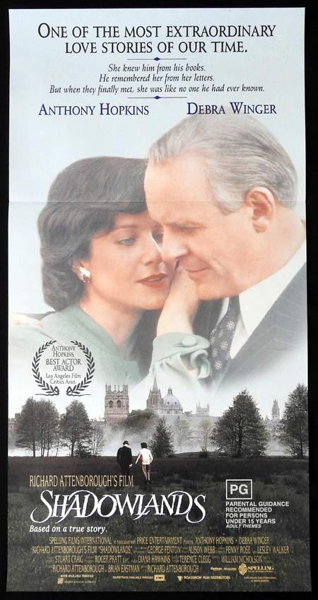 SHADOWLANDS Daybill Movie Poster ANTHONY HOPKINS Debra Winger