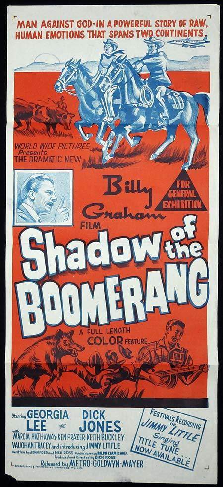 SHADOW OF THE BOOMERANG Original Daybill Movie poster BILLY GRAHAM Jimmy Little