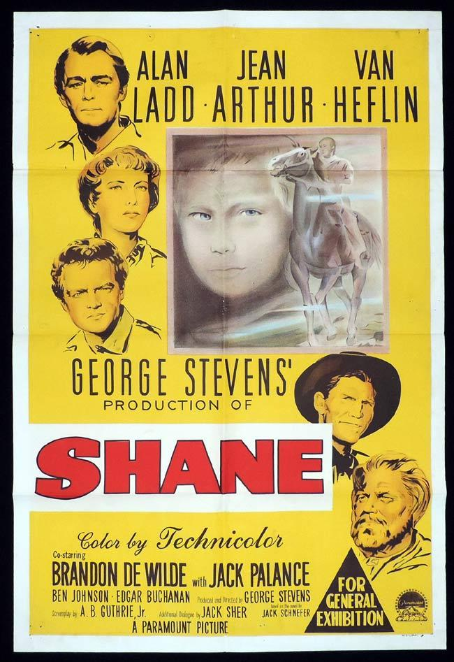 SHANE Original One sheet Movie Poster Alan Ladd Jean Arthur Van Heflin