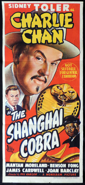 The Shanghai Cobra, Phil Karlson, Mantan Moreland, Sidney Toler, Joan Barclay, Benson Fong, James Cardwell, Addison Richards, Joe Devlin, Arthur Loft, Daybill, Movie Poster