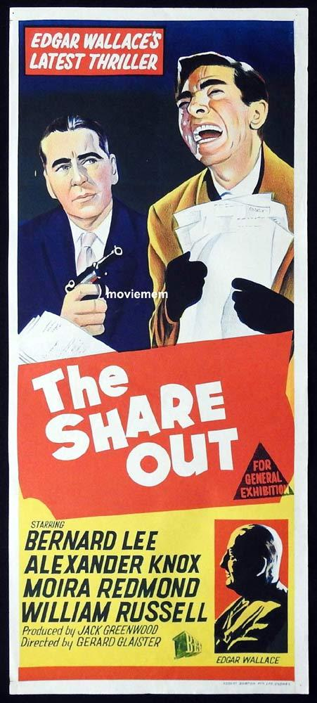 THE SHARE OUT Original Daybill Movie Poster Edgar Wallace Bernard Lee