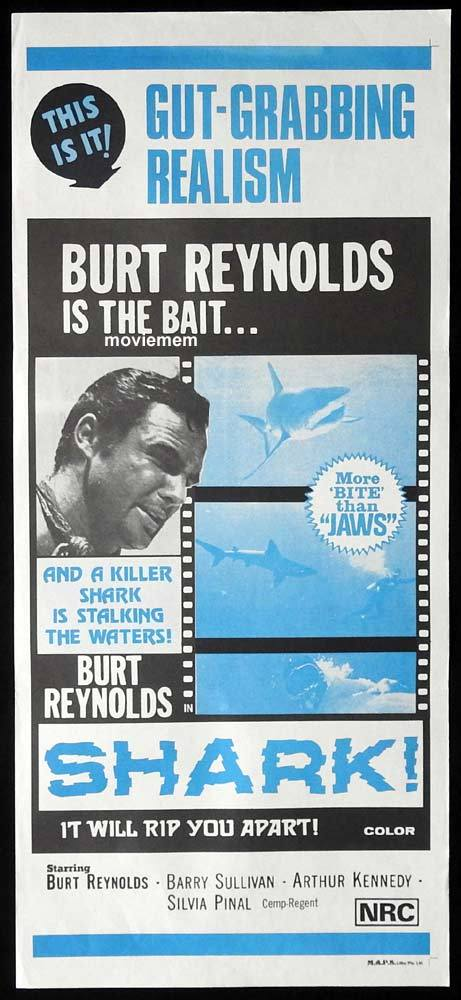 SHARK Original Daybill Movie Poster Burt Reynolds Barry Sullivan