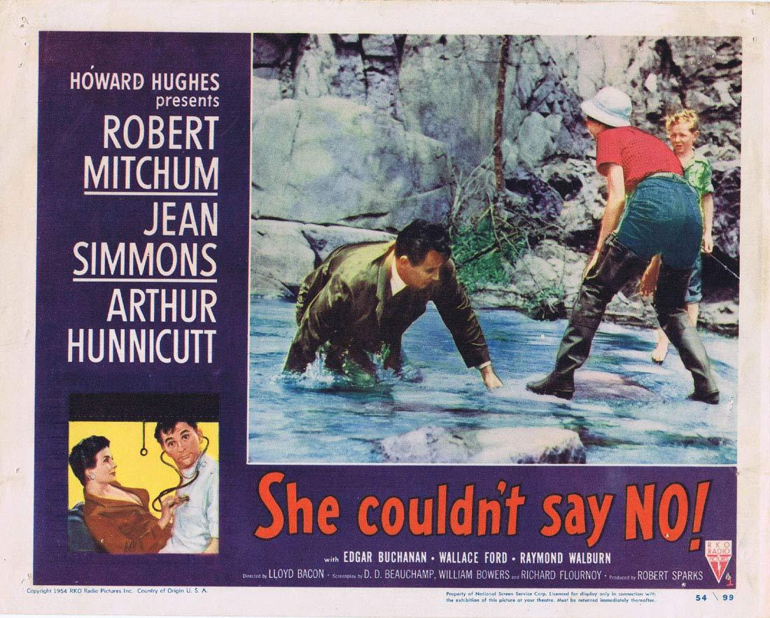 SHE COULDN'T SAY NO Original Lobby Card 1 Robert Mitchum Jean Simmons RKO