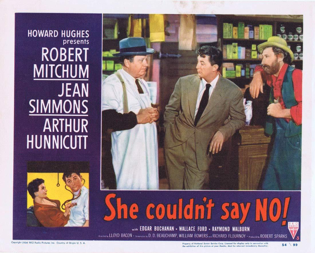 SHE COULDN'T SAY NO Original Lobby Card 3 Robert Mitchum Jean Simmons RKO