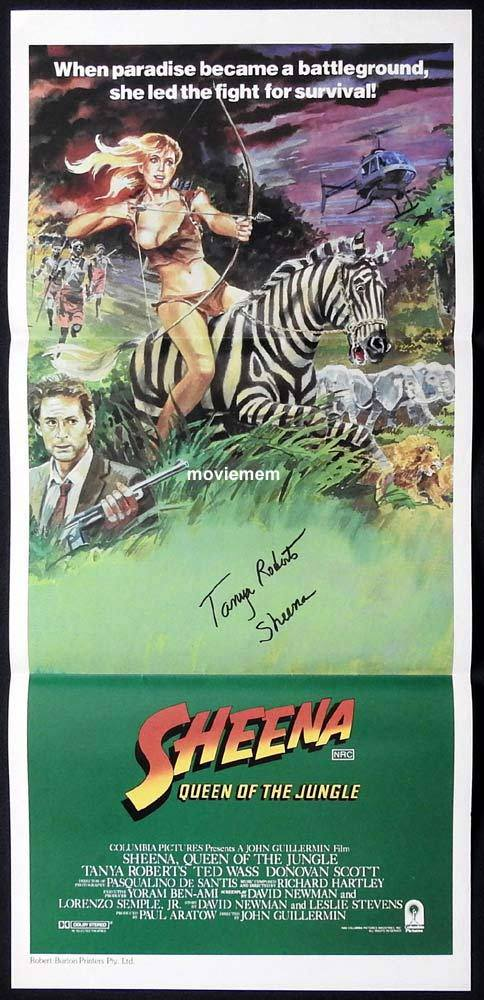 SHEENA Original Daybill Movie Poster Autograph Tanya Roberts