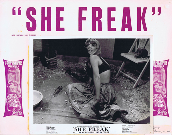 SHE FREAK Lobby Card Claire Brennan Horror