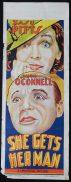 SHE GET'S HER MAN  Movie Poster 1935 Zazu Pitts RARE Long daybill