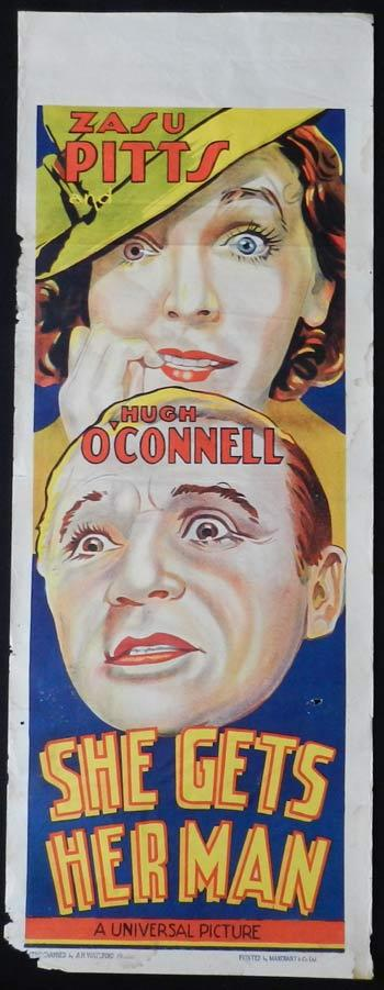 SHE GET'S HER MAN  Movie Poster 1935 Zazu Pitts RARE Long daybill