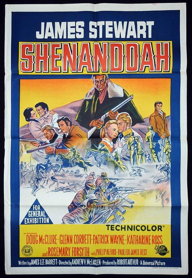 SHENANDOAH Original One sheet Movie poster James Stewart Doug McClure