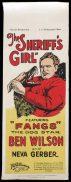 THE SHERRIFF'S GIRL Long Daybill Movie poster 1927 Ben Wilson Silent Cinema