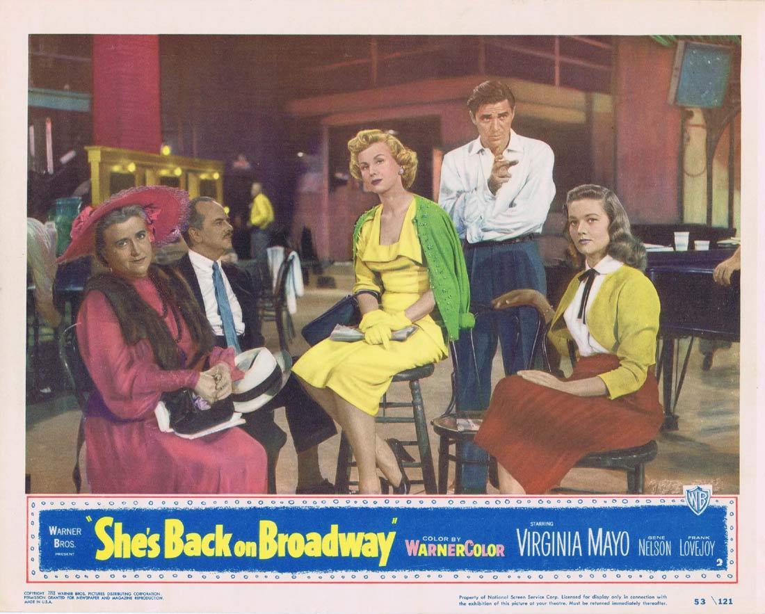 SHE'S BACK ON BROADWAY Lobby Card 2 1953 Virginia Mayo Gene Nelson