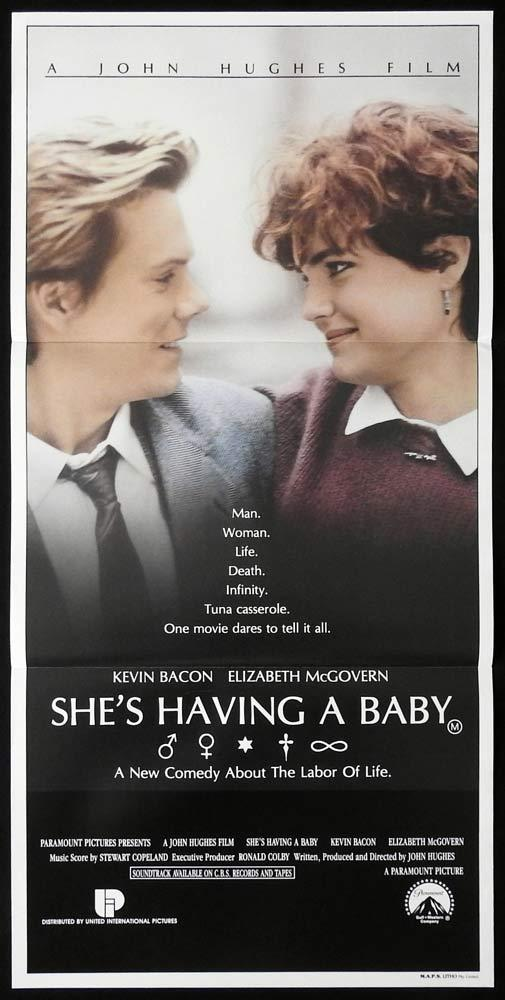 SHE'S HAVING A BABY Original Daybill Movie poster KEVIN BACON Elizabeth McGovern