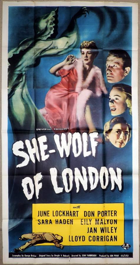 SHE-WOLF OF LONDON Original 3 Sheet Movie Poster UNIVERSAL HORROR June Lockhart