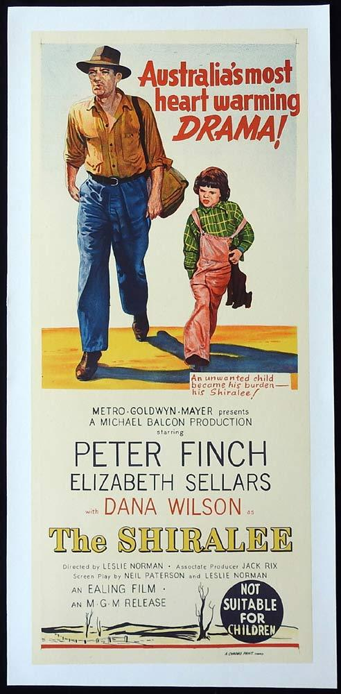 THE SHIRALEE Original LINEN BACKED Daybill Movie Poster Peter Finch
